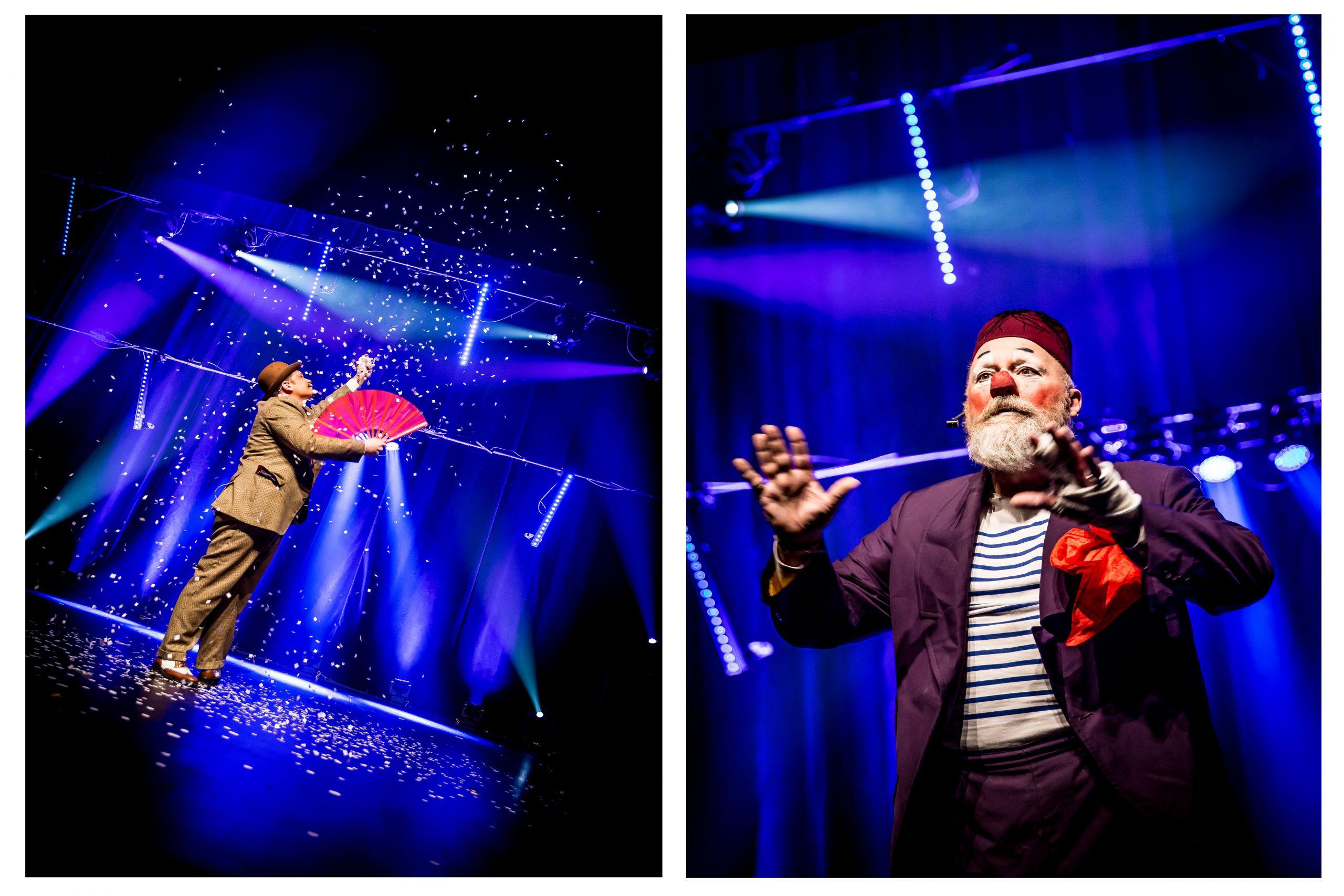 Photo du spectacle de magie avec le magicien Gregory Bellini et le clown Momo © Sophie Stalnikiewicz